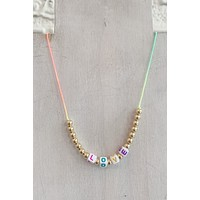 CNJ Tie Dye LOVE Bead Necklace