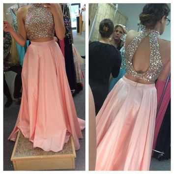Two Piece Prom Dress,Pink Prom Dresses,Long Evening Dress