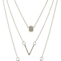 Silver Rhinestone Charm Necklaces - 3 Pack by Charlotte Russe