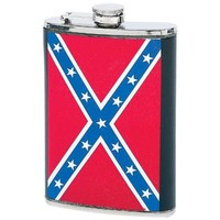 Maxam 8oz Stainless Steel Flask with Rebel Flag Insert
