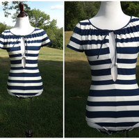 Vintage 80s Bill Blass Blue and White Unusual One Piece Swimsuit Bathing Suit Size 12