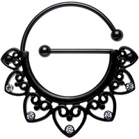 Clear Gem Black PVD Barbell Filigree Heart Universal Nipple Ring | Body Candy Body Jewelry