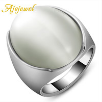 Ajojewel Size 7-9 Latest Silver Plated White Opal Big Stone Ring Jewelry For Men/Women