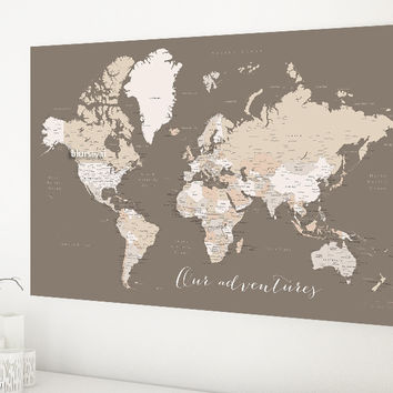 """World map with cities, 36x24"""" canvas print in earth tones, Our Adventures"""