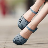 Women Sandals Blue Retro Genuine Leather Sandals Hollow Out Ankle Strap Low Heel Lady Shoes Handmade Women Shoes Clearance Sale