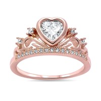 Rose Gold Plated CZ Heart Crown .925 Sterling Silver Ring