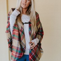 Pardon My French Plaid Poncho - Khaki