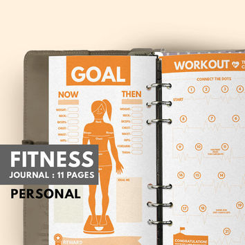 Fitness Journal personal, Filofax personal insert, Fitness Planner personal Filofax insert, Workout Filofax Planner, Health Planner