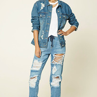 Destroyed Drawstring Jeans