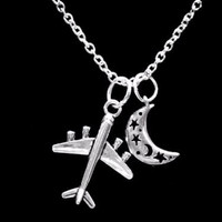 Airplane Crescent Moon Celestial Travel Long Distance Gift Charm Necklace