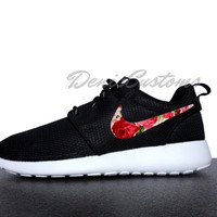 Nike Roshe Run One Black with Custom Pink Red Rose Floral Print