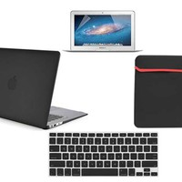 """Newegg.Com - Newest 4 PCS Matte Frosted Hard Shell Rubber Coated Case Cover,Keyboard Skin,Screen Protector,Sleeve Bag for Mac Book 13"""" Air - A1466 / A1369 Macbook Air 13"""" 13.3"""" - Black"""