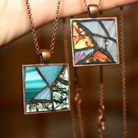 Stained Glass Pendant Necklace, Stained Glass Mosaic Jewelry