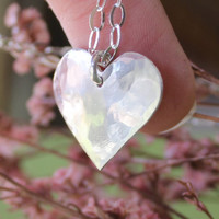 """Sterling Silver Heart Necklace Handmade Jewelry Valentines Day Gift Idea 38"""" Chain"""