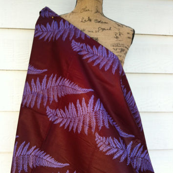 African Wax Print Fabric by the HALF YARD.  Fern leaves in maroon and purple.