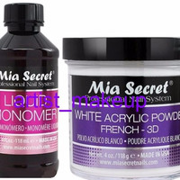 Mia Secret White Acrylic Nail Powder French - 3D + Monomer 4oz Set  Made in USA