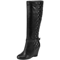 Womens Knee High Boots Quilted Front And Ankle Strap High Wedge Shoes Black SZ