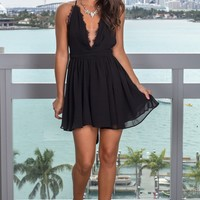 Black Short Dress with Criss Cross Back and Lace Detail