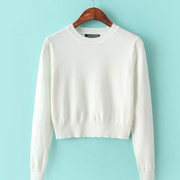 Cropped Long Sleeve Knit Sweater