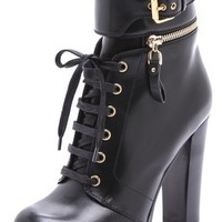Sergio Rossi Leather and Rubber Heeled Booties   SHOPBOP