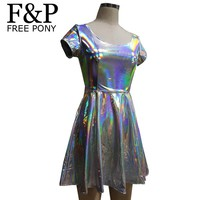Summer Silver Holographic Skater Dress Women Music Festival Rave Dress Clothes Outfits Gold Vintage Boho Dresses Cute Dress