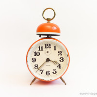 Vintage Original 60s Orange Alarm Clock Single Bell Mechanical