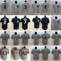 Elite Baseball 2 Derek Jeter Jersey 3 Babe Ruth 7 Mickey Mantle 4 Lou Gehrig 42 Mariano Rivera 13 Alex Rodriguez Team Color White Gray Blue
