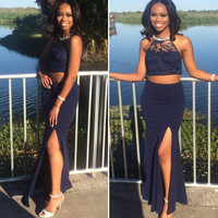 Two Piece Prom Dresses 2017 Cut Out Bust Side Slit Sexy Mermaid Prom Dress Vestido De Festa Halter Navy Blue Satin Prom Gown