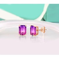 5.00 Ctw Emerald Cut Pink/Amethyst Stud Earringsin 18K Rose Gold Plated