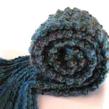 Peacock Blue Scarf Chunky Knit Soft Long by SticksNStonesGifts