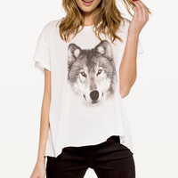 GREY WOLF JAGGED EDGE T at Wildfox Couture in  -CLEAN WHITE, SMOKE