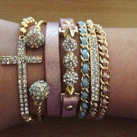 ARM CANDY LEATHER WRAP SIDEWAYS CROSS BRACELET LOVE CRYSTALS SPIKES GOLD CHAIN