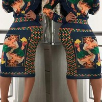 Gabby Printed Skirt And Blouse Matching set