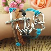 MagicPieces Anchor Cross Hearts Braid 4 Layers Black Blue Brown Handmade MultiLayered Bracelet For Women's Teens Friendship Birthday Gift