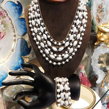 Vintage CORO Necklace Bracelet Demi Parure Mid Century Hollywood Wedding Bride Bridal Jewelry Multi Strand Milk Glass White Molded Plastic