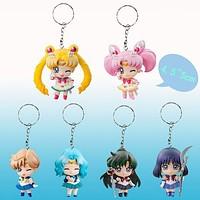 6pcs/set Sailor Moon Keychains Action Figures PVC Collection toys for christmas gift brinquedos ToyO00172