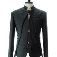 TheLees Mens Slim Fit Double Collar 2 Button Jacket