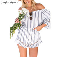 Simplee Apparel Sexy off shoulder elegant jumpsuit romper Grey striped tassel fringe playsuit Casual linen summer beach overalls