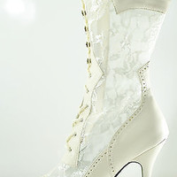 Plus Size Wide Width Victorian Lace Ankle Boot Wedding Shoe 7 - 13  Ivory White