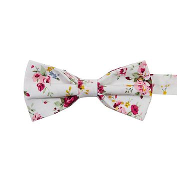 White Floral Bow Tie (Pre-Tied)
