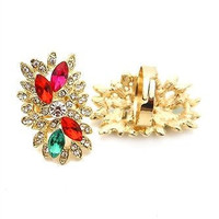 The Splash of Color and Rhinestone Adjustable Ring