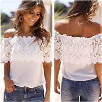 2016 Chiffon Off Shoulder Lace Boat Neckline Casual Party Wear Holiday Short Sleeve Top Shirt T-shirt  _ 4425