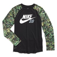 Boy's Nike 'SB Floral Print Trim' Long Raglan Sleeve Dri-FIT T-Shirt,