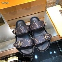 LV Louis Vuitton Men's And Women's Leather Sandals Shoes
