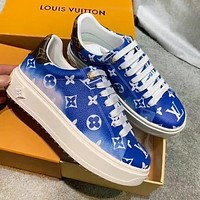 Louis Vuitton LV Fashion Women Casual Leather Running Sneakers Sport Shoes Blue