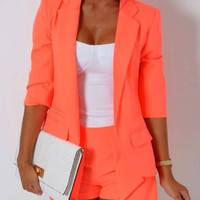 Open Front Blazers with Shorts Twinset