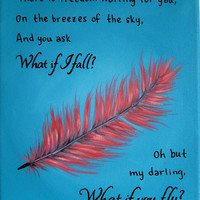 Inspirational Quote Art What if I fall Poem Art - Canvas Art Quote What if you fly - Nursery Decor Girls Room Art Feather Art Teal and Coral