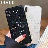 Cute Glitter Bling Case for iPhone 6 6s 7 8 Plus Glossy Epoxy Star Love Heart Clear Soft Case For iPhone X XS Max XR Cover