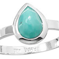 Small Pear Shape Freeform Faceted Turquoise Stackable Ring