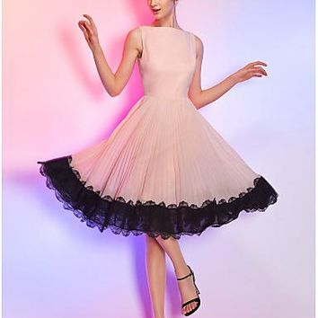 A-Line Boat Neck Knee Length Chiffon / Corded Lace Cocktail Party Dress with Lace Insert by TS Couture®